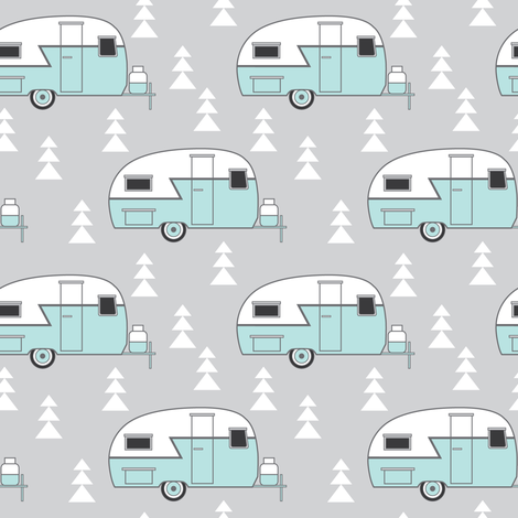 small teal vintage trailer on grey fabric by lilcubby on Spoonflower - custom fabric
