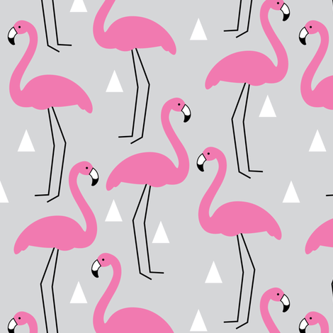 hot pink flamingos on grey fabric by lilcubby on Spoonflower - custom fabric