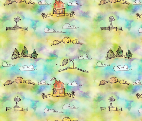 A City of Earth and Sky fabric by lyddiedoodles on Spoonflower - custom fabric