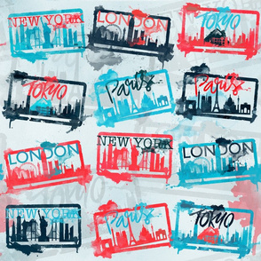 watercolour city stamps