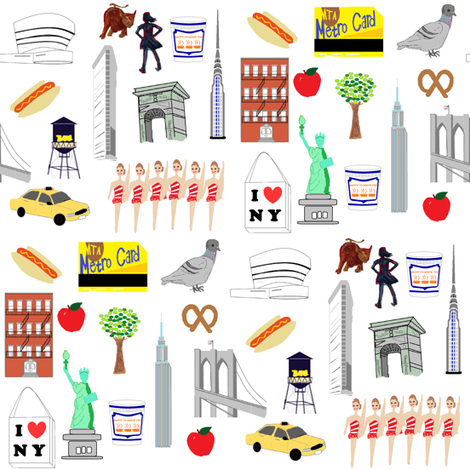 New York NYC favorites fabric by cityette on Spoonflower - custom fabric