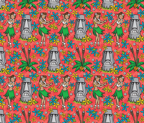 Kitsch Tiki - Stone Gods - Red fabric by shannanigan on Spoonflower - custom fabric