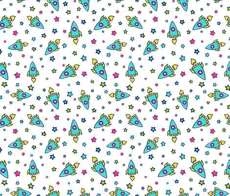 Rocket doodle fabric ihavepurplehair spoonflower for Rocket fabric