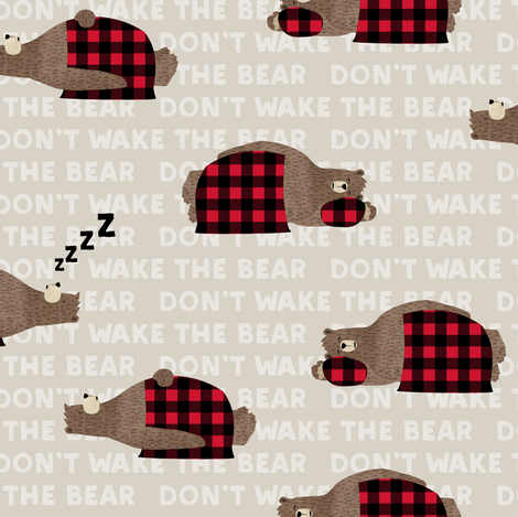 (small scale) don't wake the bear - beige fabric by littlearrowdesign on Spoonflower - custom fabric
