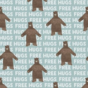 (small scale) free hugs bear - dusty blue