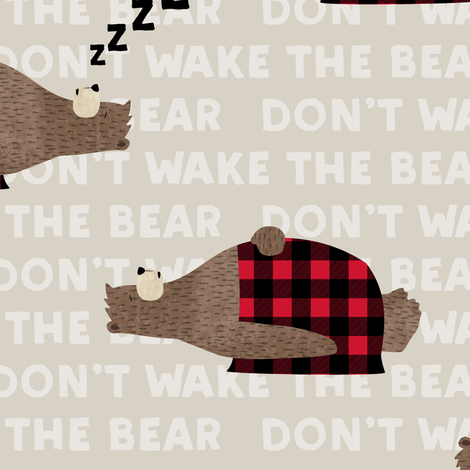 don't wake the bear - beige fabric by littlearrowdesign on Spoonflower - custom fabric