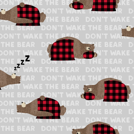 (small scale) don't wake the bear - grey  fabric by littlearrowdesign on Spoonflower - custom fabric