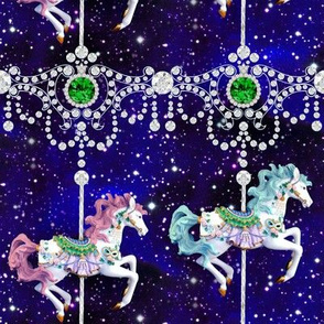 egl elegant gothic lolita carousel pony horses ponies carnival Victorian baroque jewels gems diamonds emeralds glitter sparkles stars universe galaxy cosmic cosmos planets nebula  filigree