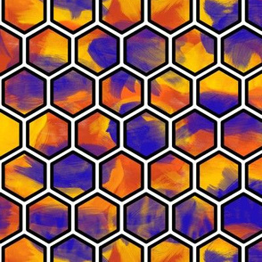 Stained Glass Hexagons (orange)