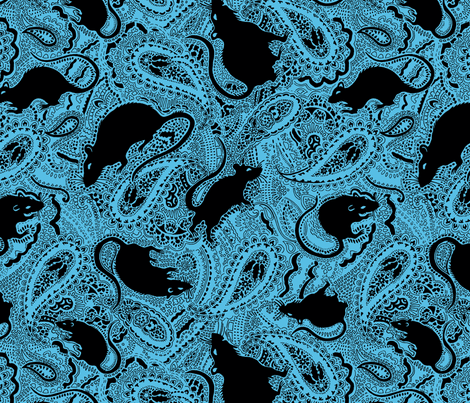 turquoise paisley rats - Medium Size fabric by paisleypower on Spoonflower - custom fabric