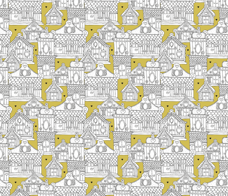 Romantic Europe travel architecture buildings and houses bohemian mustard yellow fabric by littlesmilemakers on Spoonflower - custom fabric