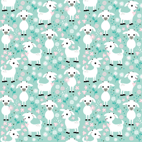 Baby goats on mint - small fabric by heleenvanbuul on Spoonflower - custom fabric