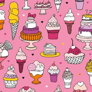 Happy birthday party cupcakes ice cream and summer cake love pink