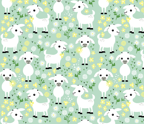 Baby goats on green fabric by heleenvanbuul on Spoonflower - custom fabric