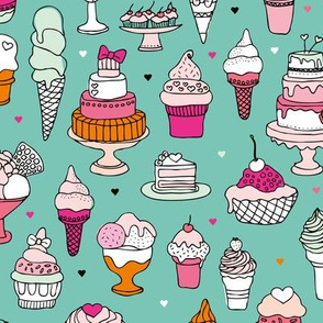 Happy birthday party cupcakes ice cream and summer cake love mint