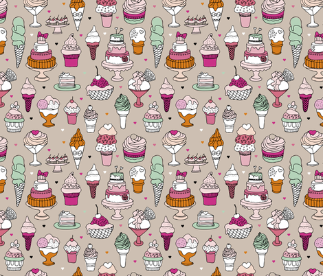 Happy birthday party cupcakes ice cream and summer cake love beige pink fabric by littlesmilemakers on Spoonflower - custom fabric