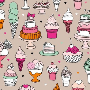 Happy birthday party cupcakes ice cream and summer cake love beige pink