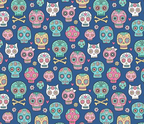 Sugar Skulls on Dark Blue Navy fabric by caja_design on Spoonflower - custom fabric
