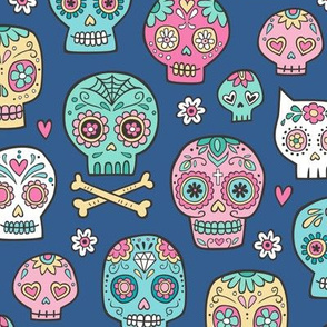 Sugar Skulls on Dark Blue Navy