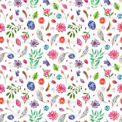 watercolor boho nature pattern