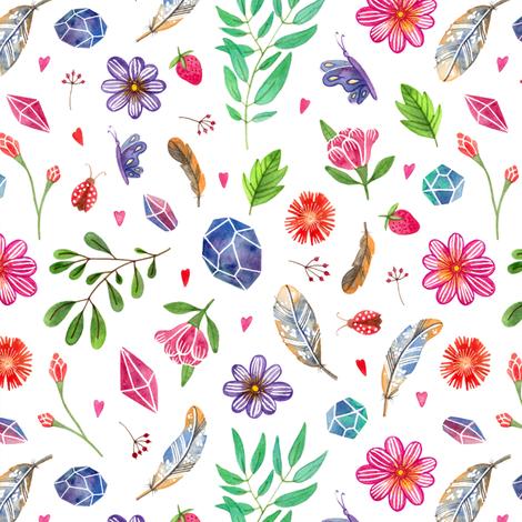 watercolor boho nature pattern fabric by alenaganzhela on Spoonflower - custom fabric