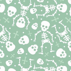 Cool skulls halloween skeleton and mexican dia de muerte kids print mint