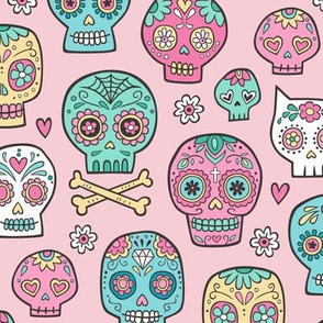 Sugar Skull Fabric Wallpaper Gift Wrap Spoonflower