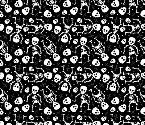 Cool skulls halloween skeleton and mexican dia de muerte kids print black and white fabric by littlesmilemakers on Spoonflower - custom fabric