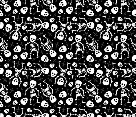 Cool skulls halloween skeleton and mexican dia de muerte for Black and white childrens fabric