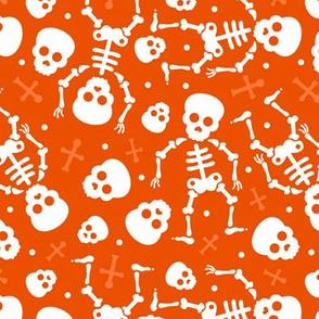 Cool skulls halloween skeleton and mexican dia de muerte kids print orange