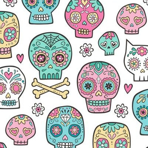 Sugar Skulls on White
