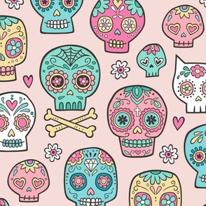 Sugar Skulls on Peach Pink