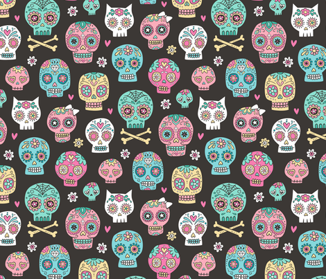 Sugar Skulls on Black fabric by caja_design on Spoonflower - custom fabric