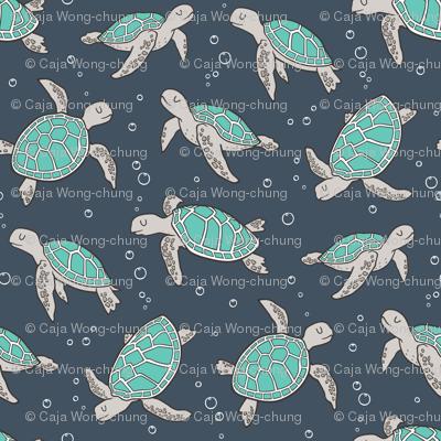 Sea Turtles Green Mint Nautical Ocean on Dark Blue Navy