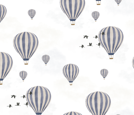 Hot Air Balloons over the Safari fabric by melarmstrongdesign on Spoonflower - custom fabric
