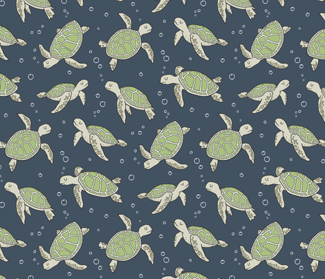 Sea Turtles Green Nautical Ocean Green on Navy Dark Blue fabric by caja_design on Spoonflower - custom fabric