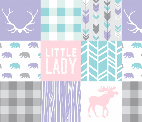 Little Lady Patchwork Quilt - Soft and Sweet Woodland - Aqua, pink, purple fabric by sugarpinedesign on Spoonflower - custom fabric