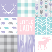 Little Lady Patchwork Quilt - Soft and Sweet Woodland - Aqua, pink, purple