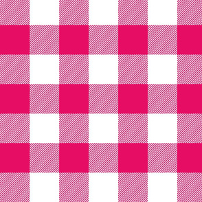 Big Buffalo Plaid - Check - fuchsia and white -- hot pink