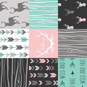 patchwork Deer- pink and light teal - rotated