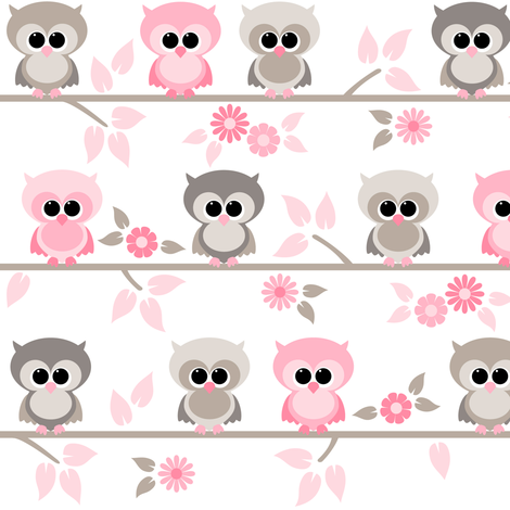 Baby owls grey  and pink fabric by heleenvanbuul on Spoonflower - custom fabric