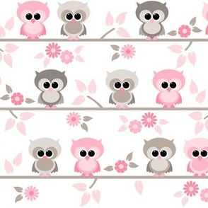 Baby owls grey  and pink