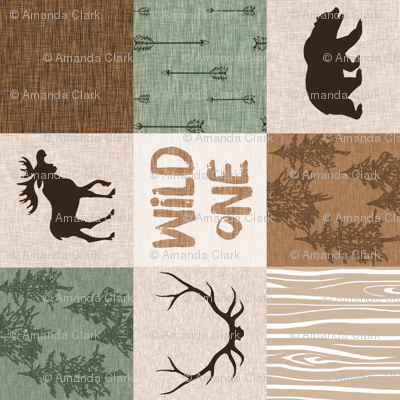 Wild One Quilt - Green and Brown - Rotated