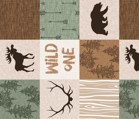 Wild One Quilt - Green and Brown - Rotated fabric by sugarpinedesign on Spoonflower - custom fabric
