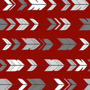 Arrow Feathers Rotated - Scarlet, Grey and White