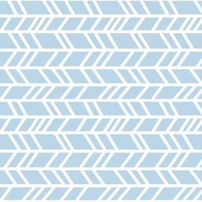 Crazy Herringbone - baby blue and white - Cottonwood - ritated