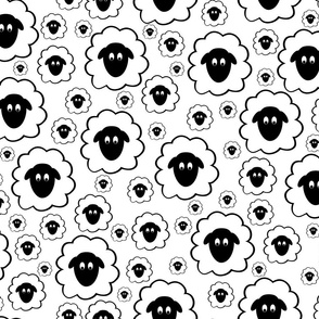 Scattered Fluffy Sheep Faces