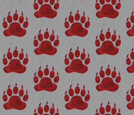Bear Paws - watercolor Red on Grey Linen fabric by sugarpinedesign on Spoonflower - custom fabric