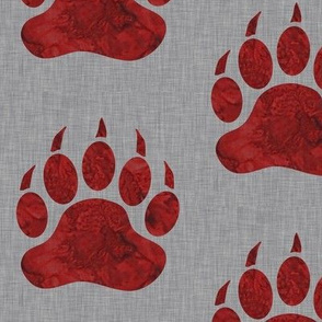 Bear Paws - watercolor Red on Grey Linen