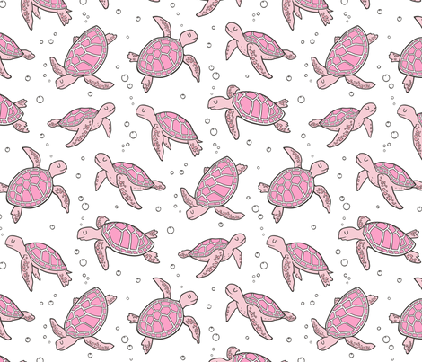 Sea Turtles Nautical Ocean Pink on White fabric by caja_design on Spoonflower - custom fabric